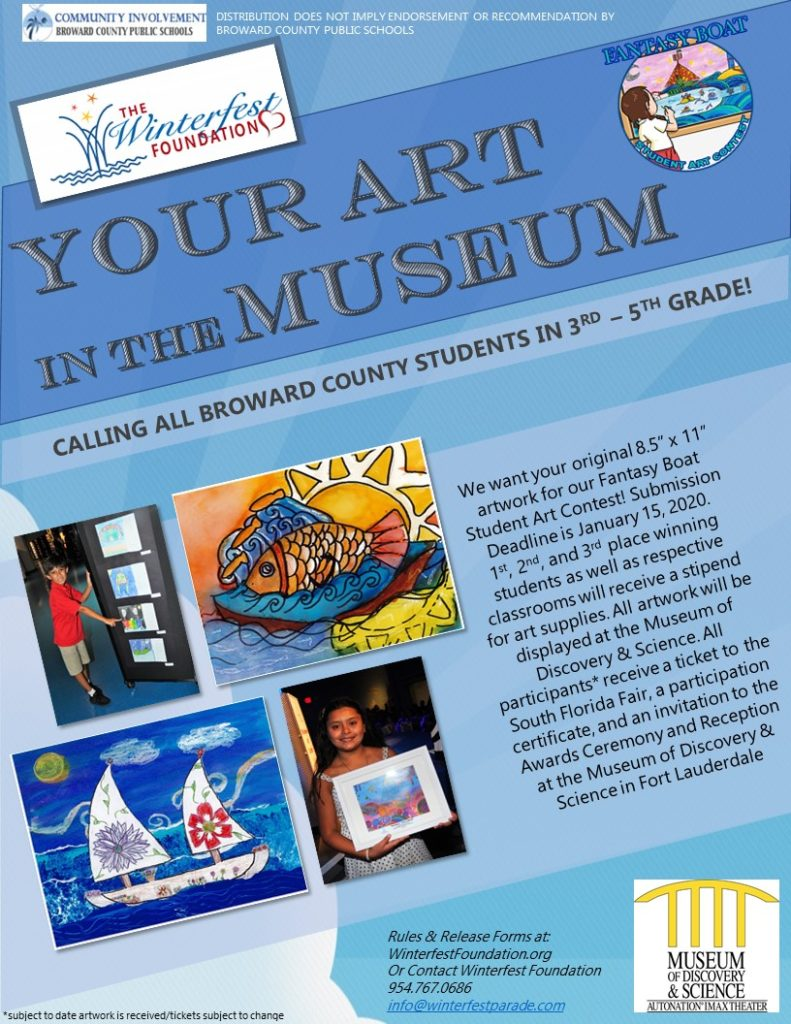 Flyer promoting Broward County students in grades3-5 to enter an art contest.